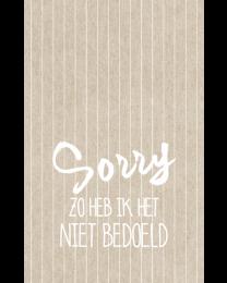 Crafty Postcard 38 Sorry zo heb ik het niet bedoeld